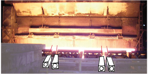 Measuring on hot surfaces in steel industries up to 1,500 °C